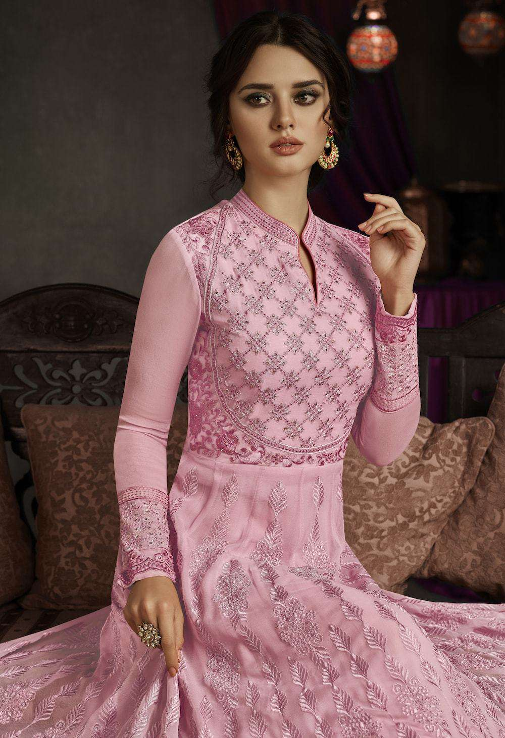 Silk Embroidered Pink Anarkali Salwar Kameez MYSK-050