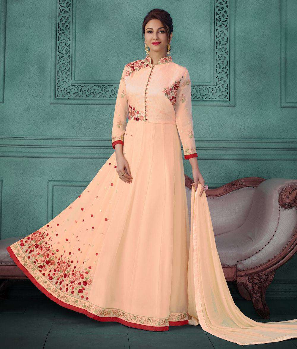 Embroidered Georgette Orange Anarkali Salwar Kameez MYSK-080