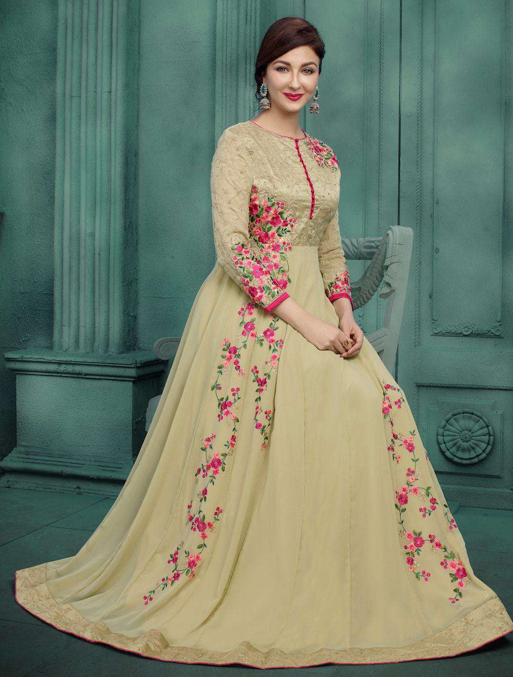 Embroidered Georgette Beige Anarkali Salwar Kameez MYSK-084