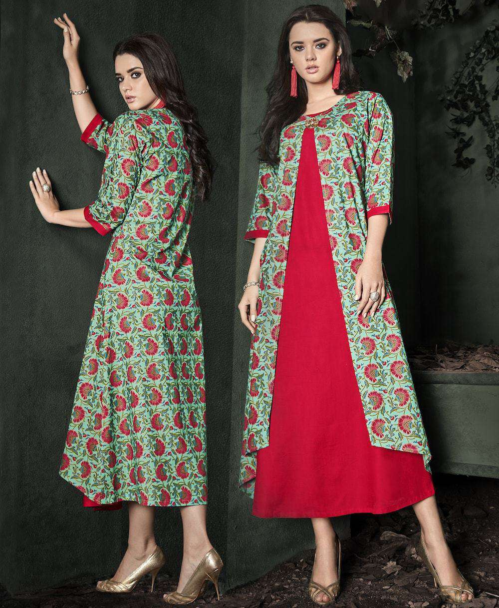 Beautiful Green & Red Ethnic Wear Rayon Printed Anarkali Long Kurta MYSK-1019