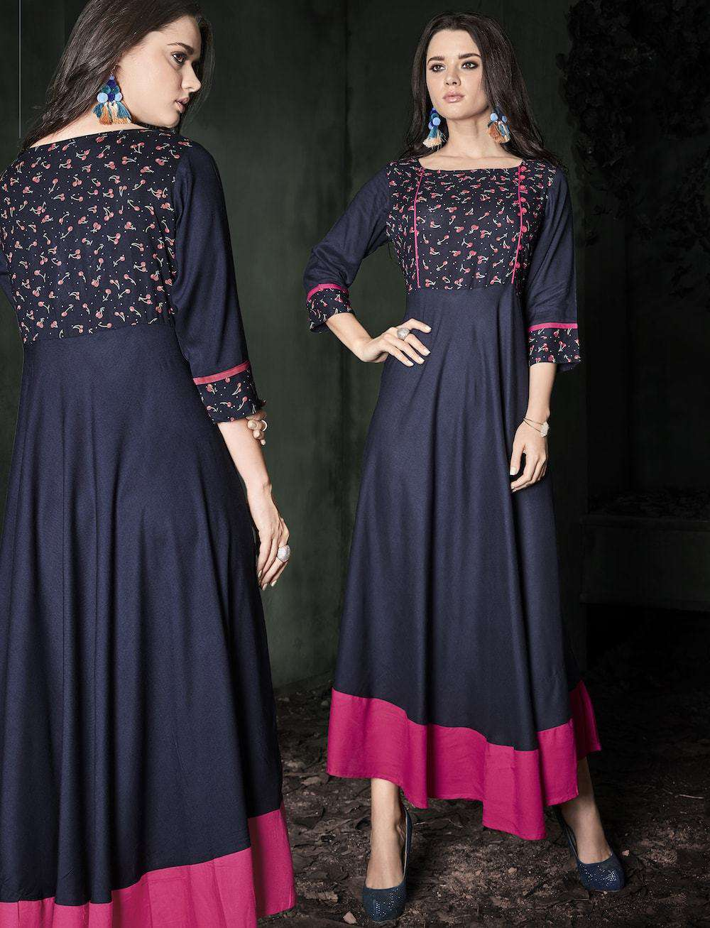 Beautiful Navy Blue Ethnic Wear Rayon Printed Anarkali Long Kurta MYSK-1025