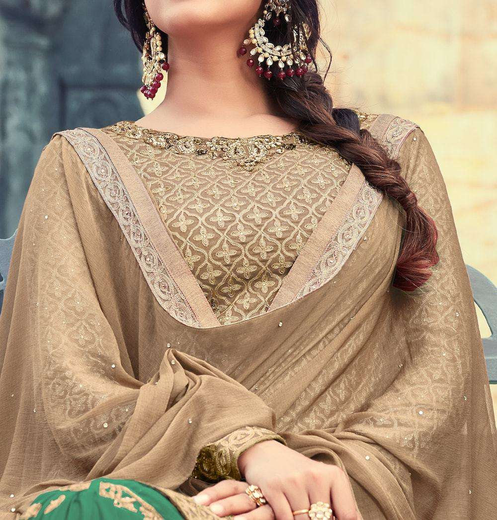 Green & Beige Elegant Embroidered Wedding Wear Salwar Kameez MYSK-1062