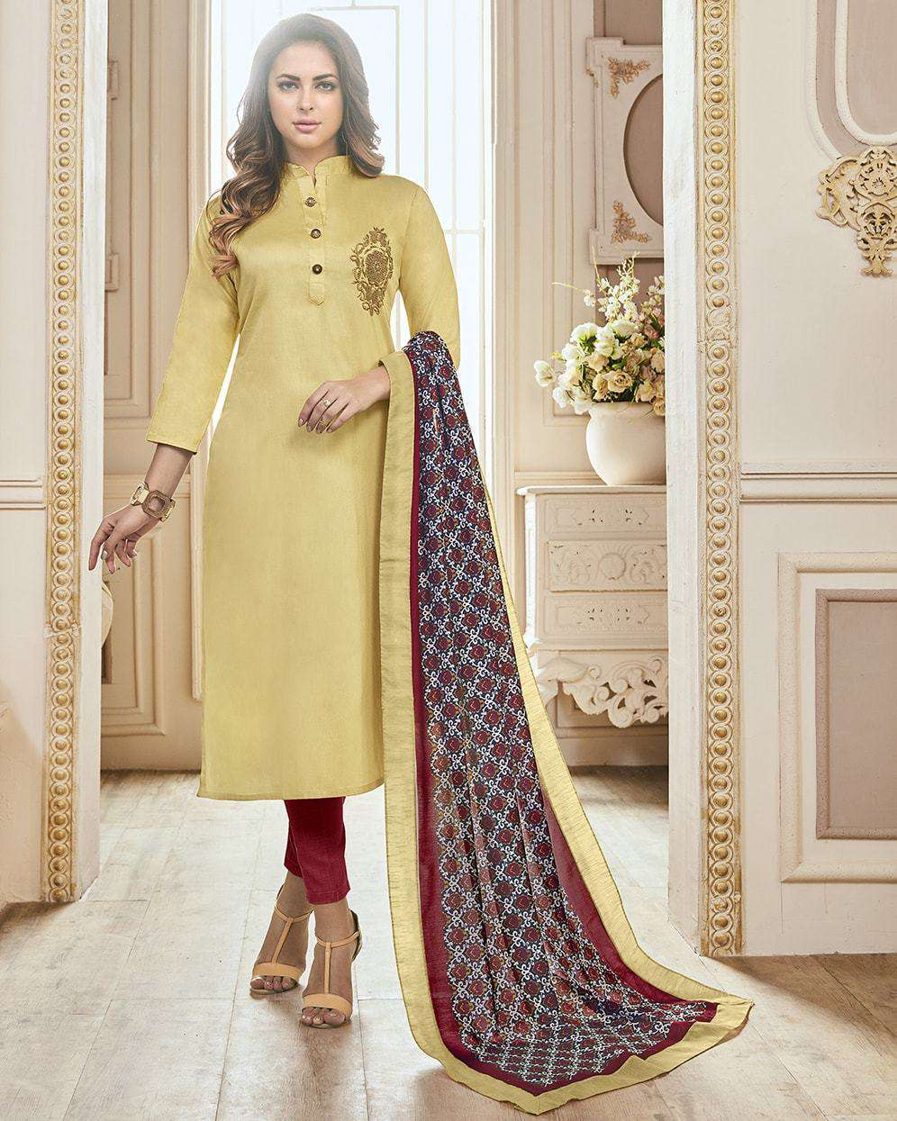 Classic Beige & Red Cotton Embroidered Salwar Kameez MYSK-1077