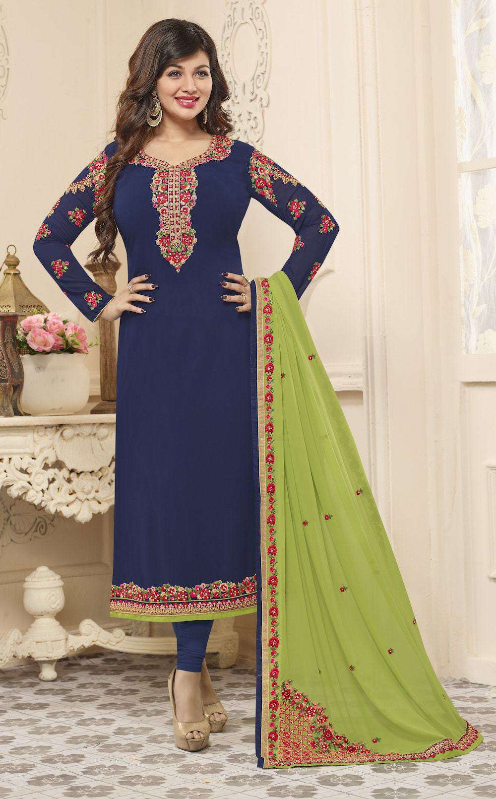 Embroidered Georgette Navy Blue Salwar Kameez MYSK-108
