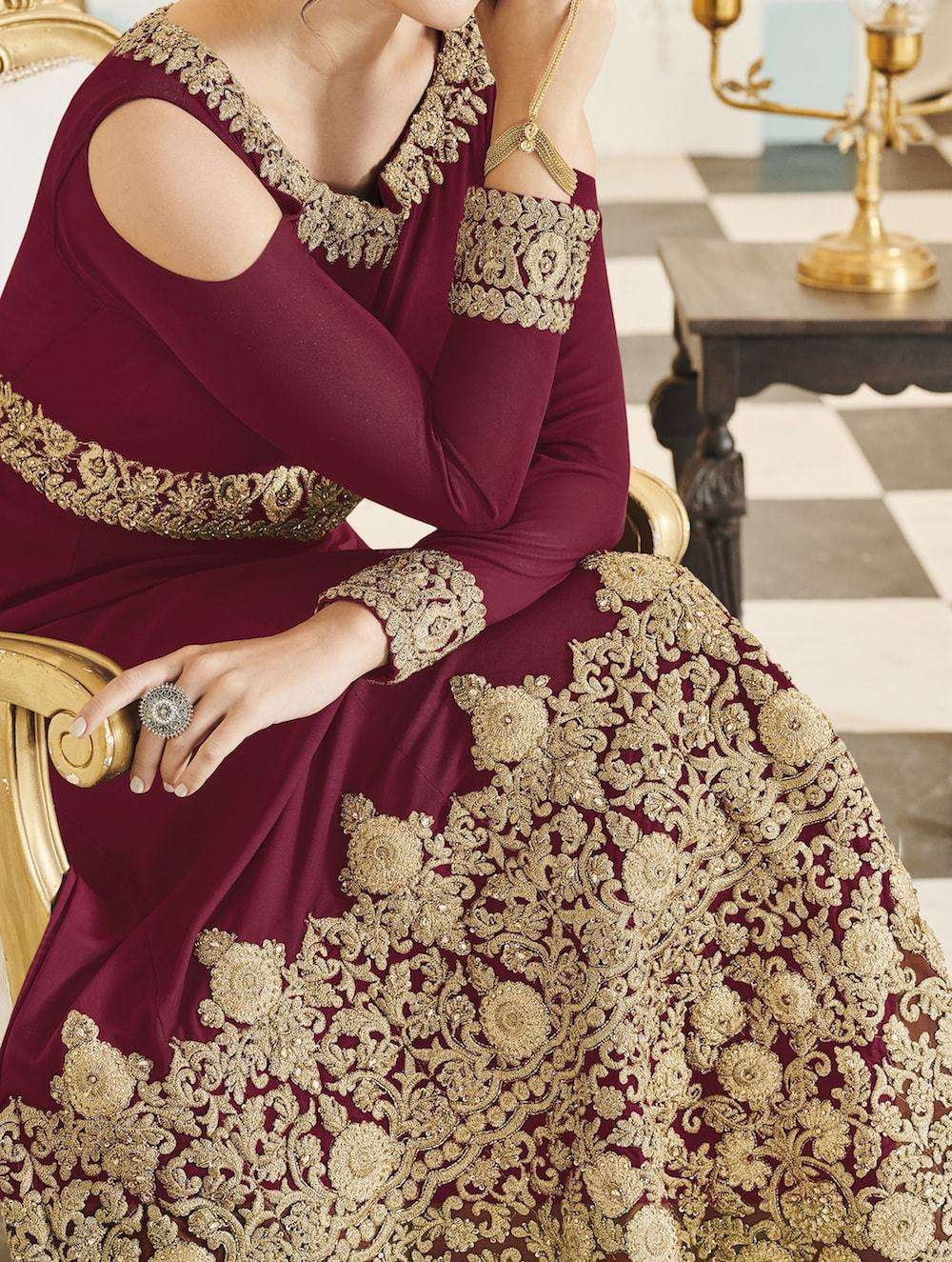 Fancy Cold Shoulder Maroon Embroidered Salwar Kameez MYSK-1086