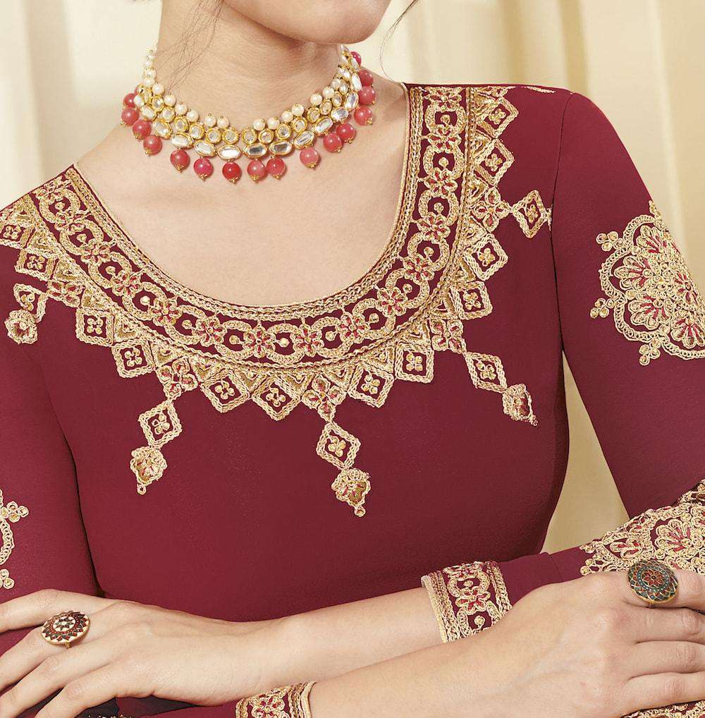 Classic Red Georgette Golden Embroidered Salwar Kameez MYSK-1101