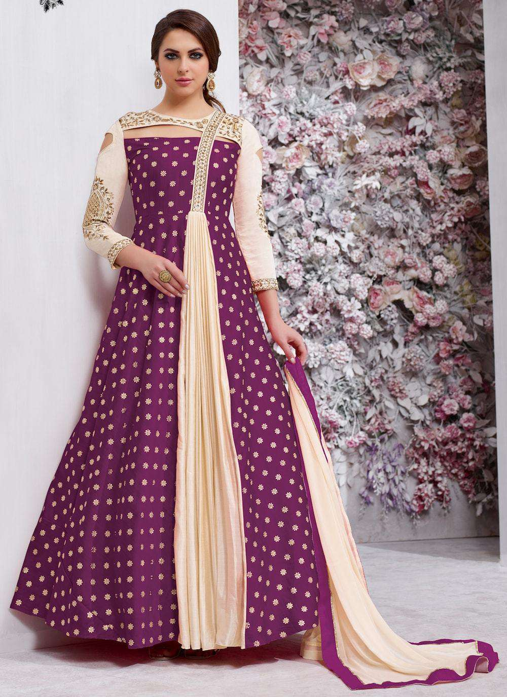 Elegant Purple Banarsi Silk Embroidered Salwar Kameez MYSK-1108