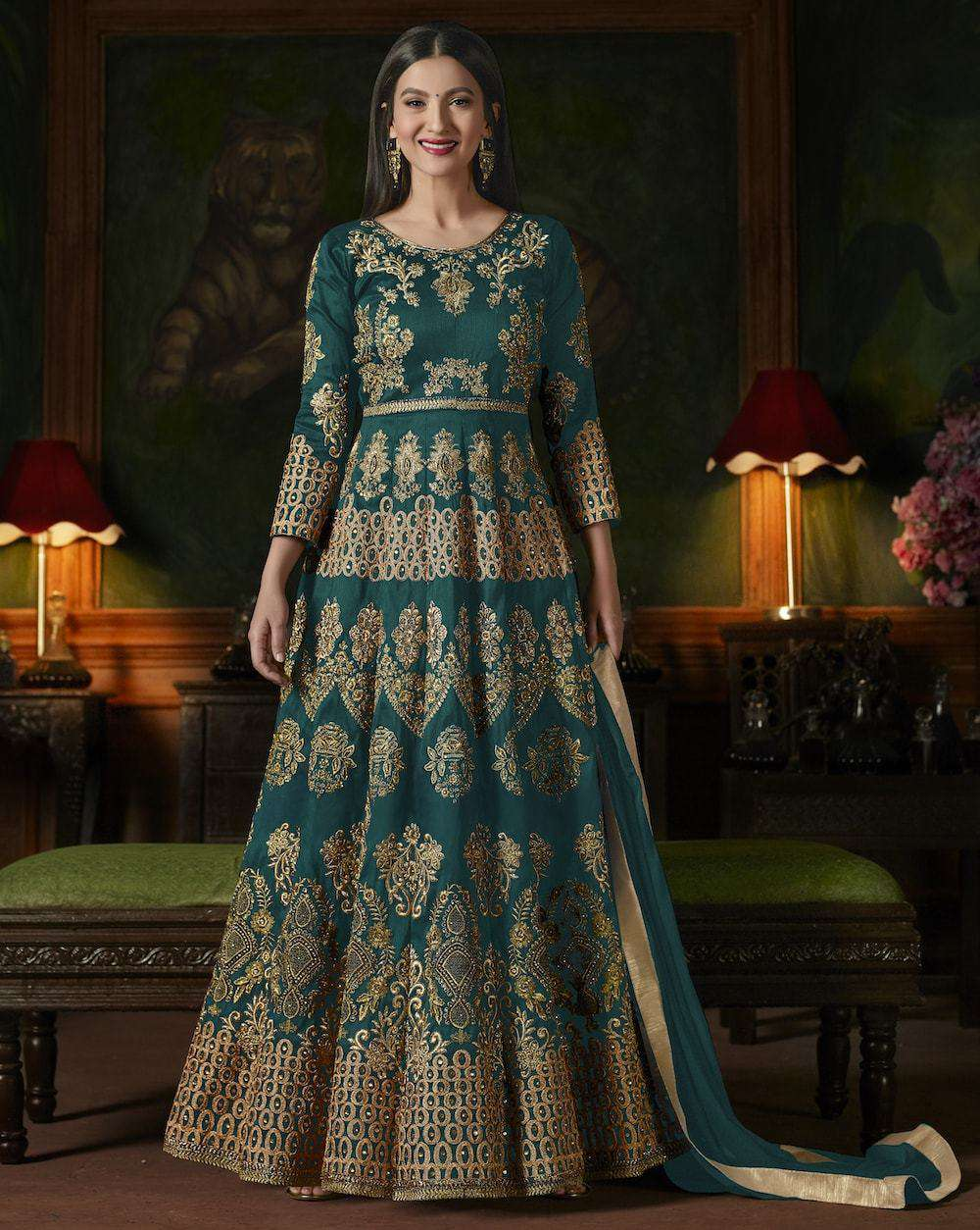 Eye-Catching Turquoise Heavy Embroidered Salwar Kameez MYSK-1116