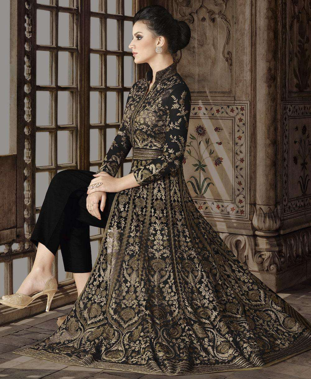 Floor Length Black Net Heavy Embroidered Salwar Kameez MYSK-1157
