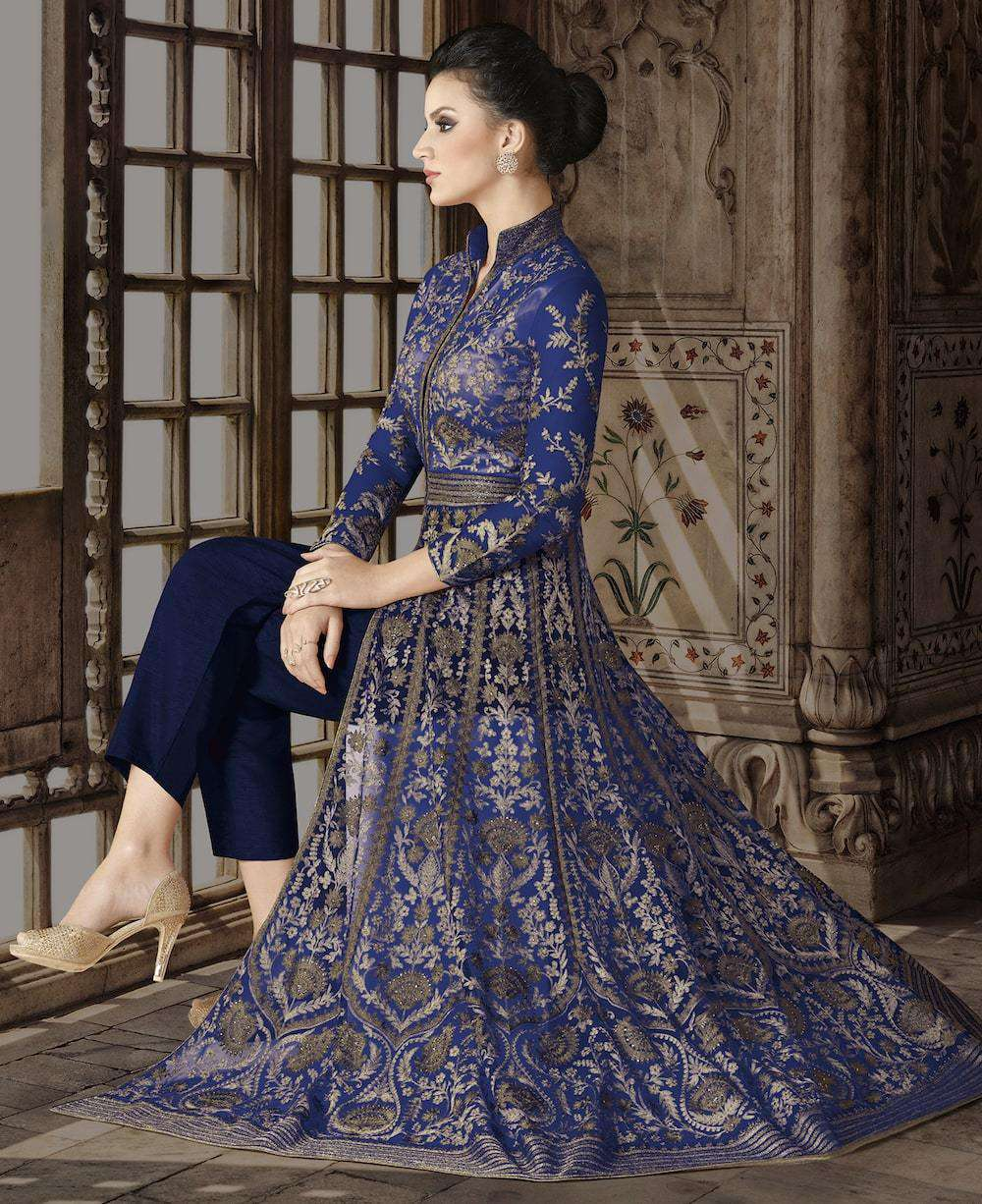 Floor Length Royal Blue Net Heavy Embroidered Salwar Kameez MYSK-1158