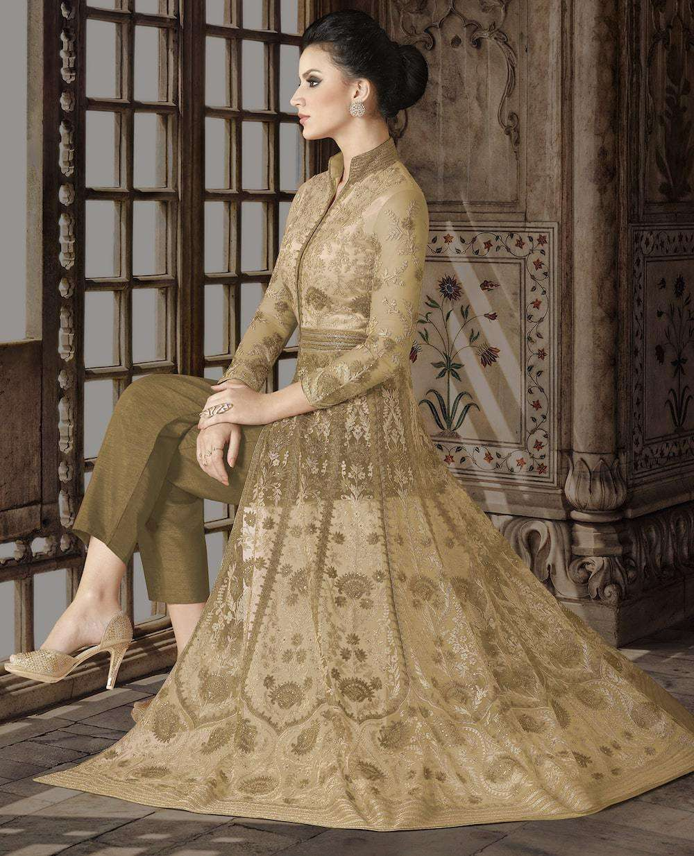 Floor Length Beige Net Heavy Embroidered Salwar Kameez MYSK-1159