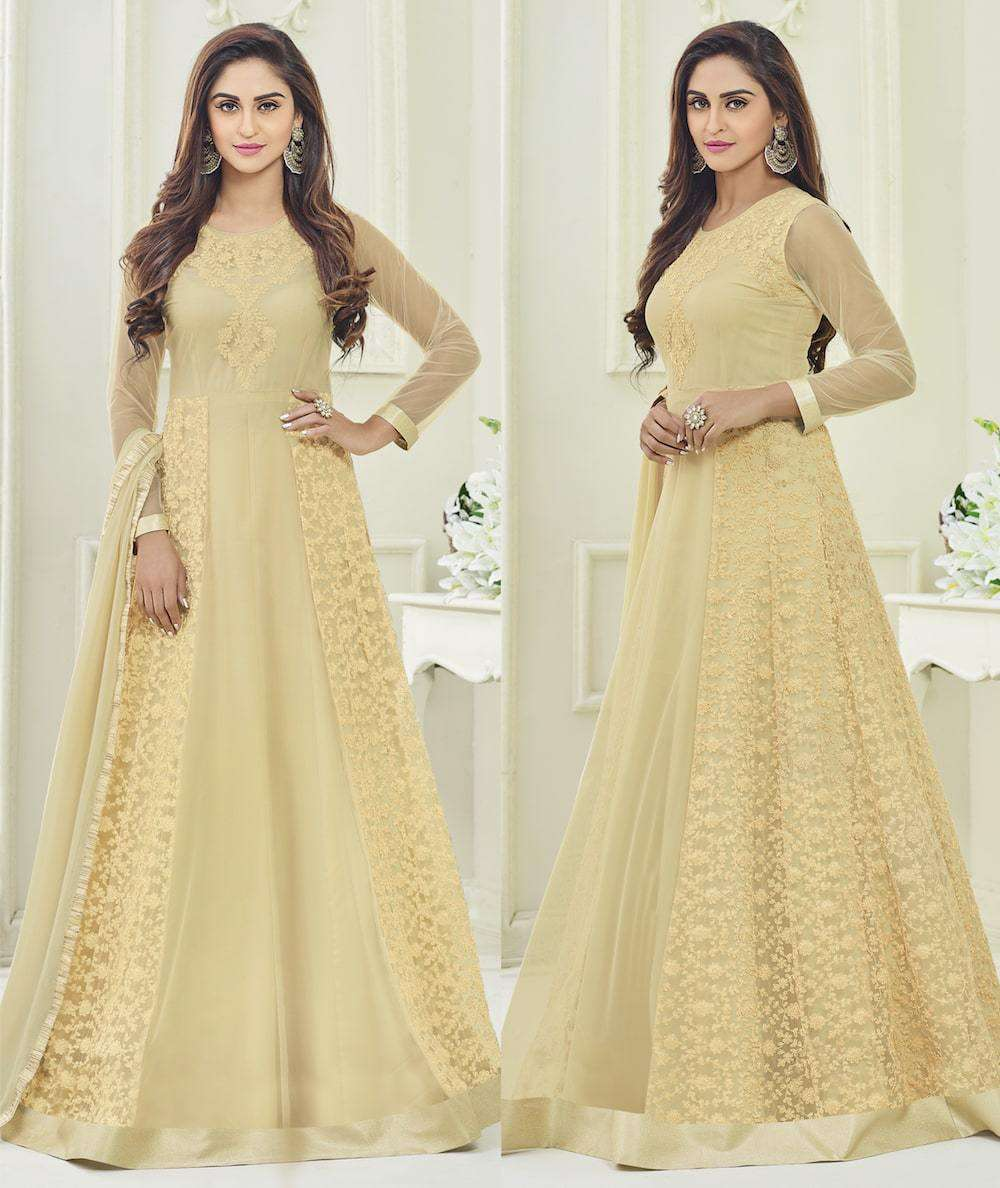 Charming Beige Mono Net Heavy Embroidered Salwar Kameez MYSK-1165