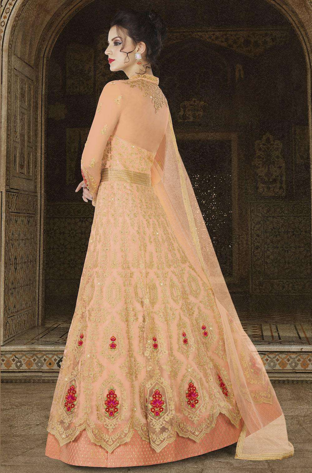 Heavy Embroidered Orange Premium Net Salwar Kameez MYSK-1174