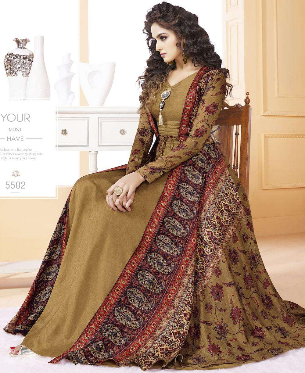 Fancy Floor Length Brown Tussar Silk Salwar Kameez MYSK-1182
