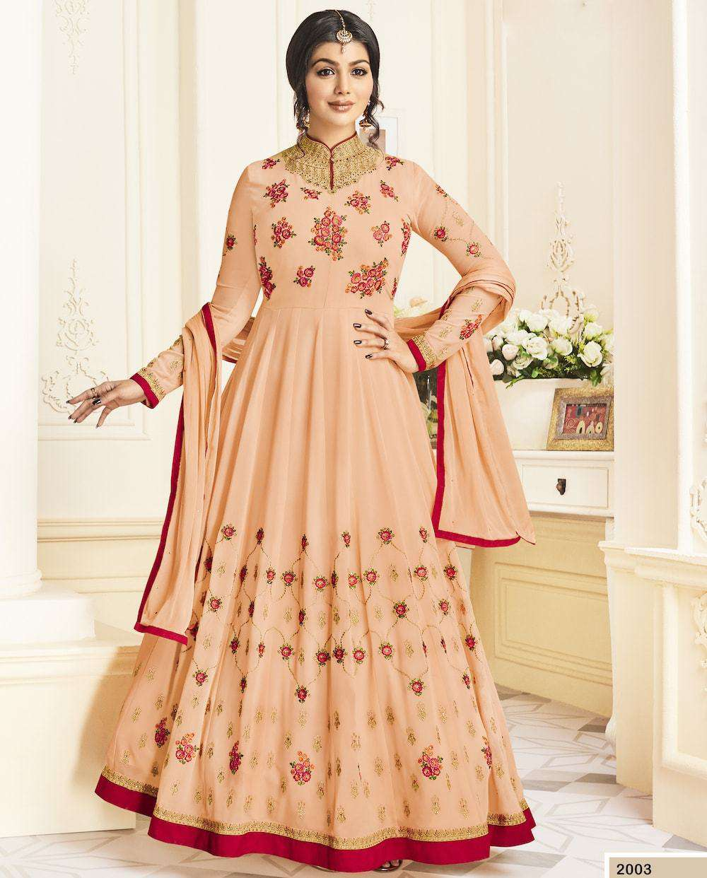 Peach Georgette Long Wedding Dress Salwar Kameez MYSK-1224