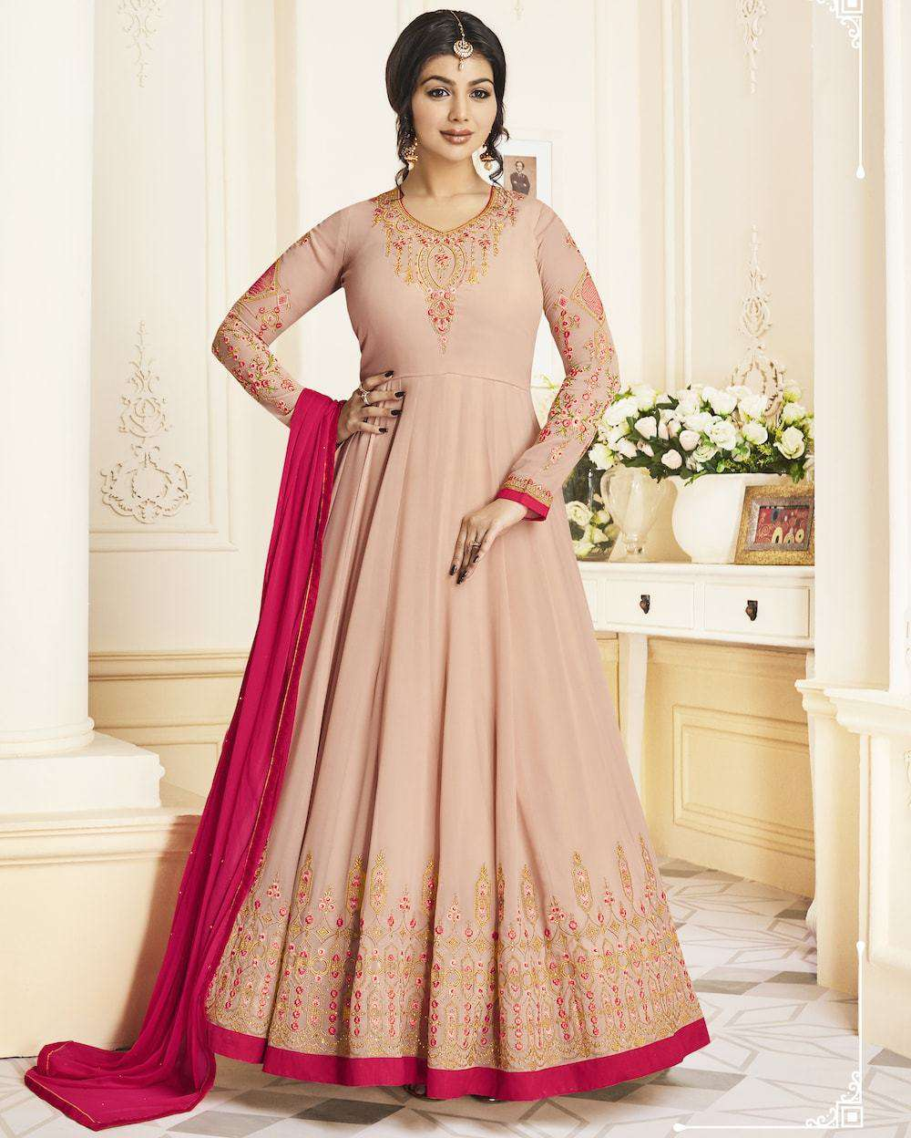Pink Georgette Long Wedding Dress Salwar Kameez MYSK-1226
