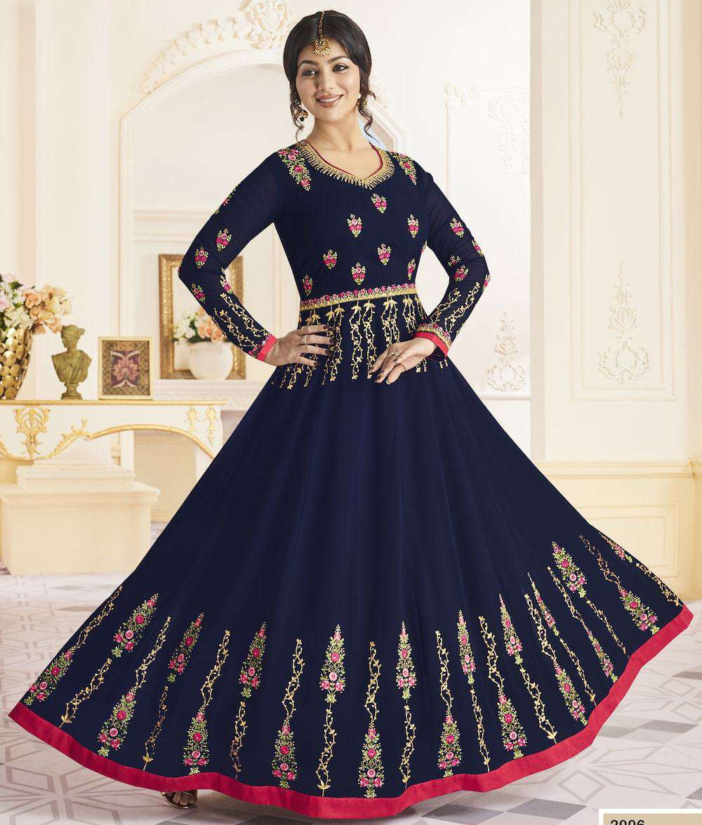 Navy Blue Georgette Long Wedding Dress Salwar Kameez MYSK-1227