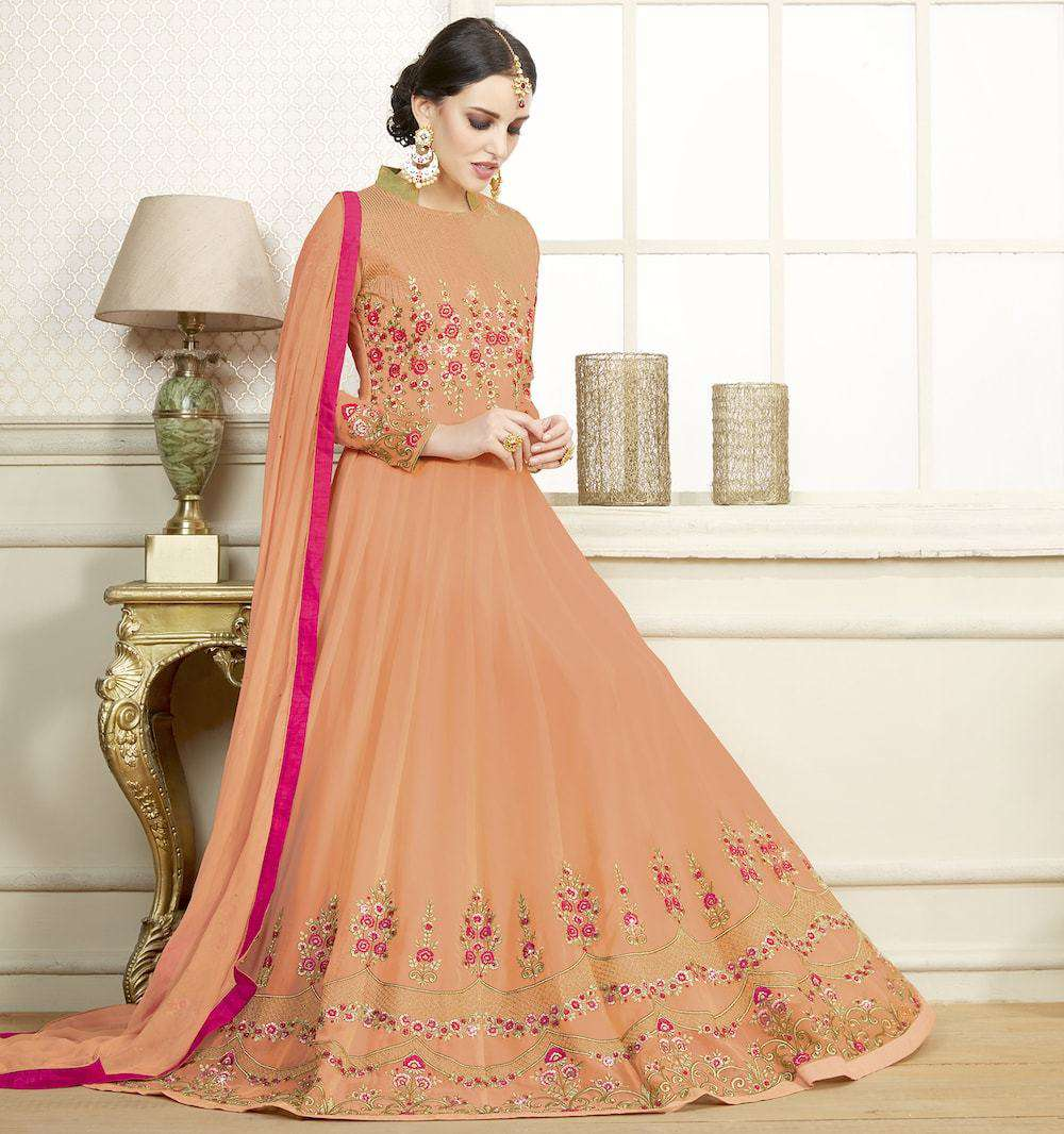 Classic Orange Georgette Wedding & Party Wear Salwar Kameez MYSK-1276