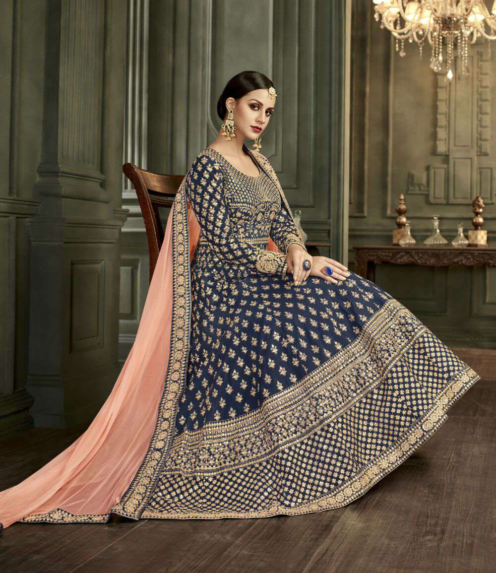 Trendy Royal Blue Art Silk Heavy Embroidered Salwar Kameez MYSK-1293