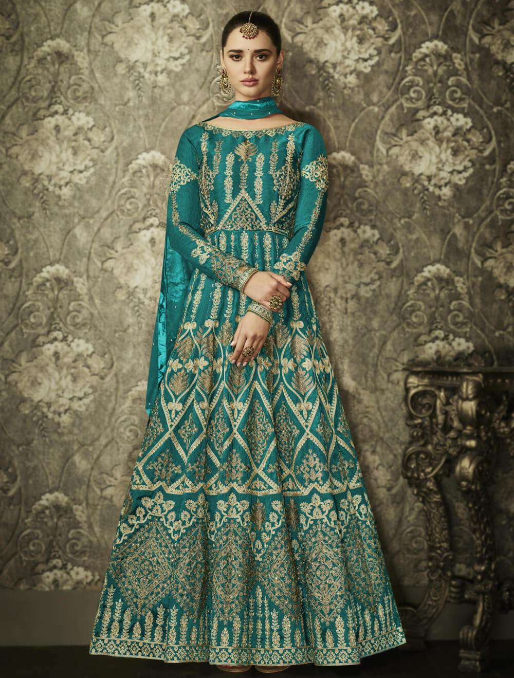 Alluring Green Mulberry Silk Stone Embroidered Salwar Kameez MYSK-1298
