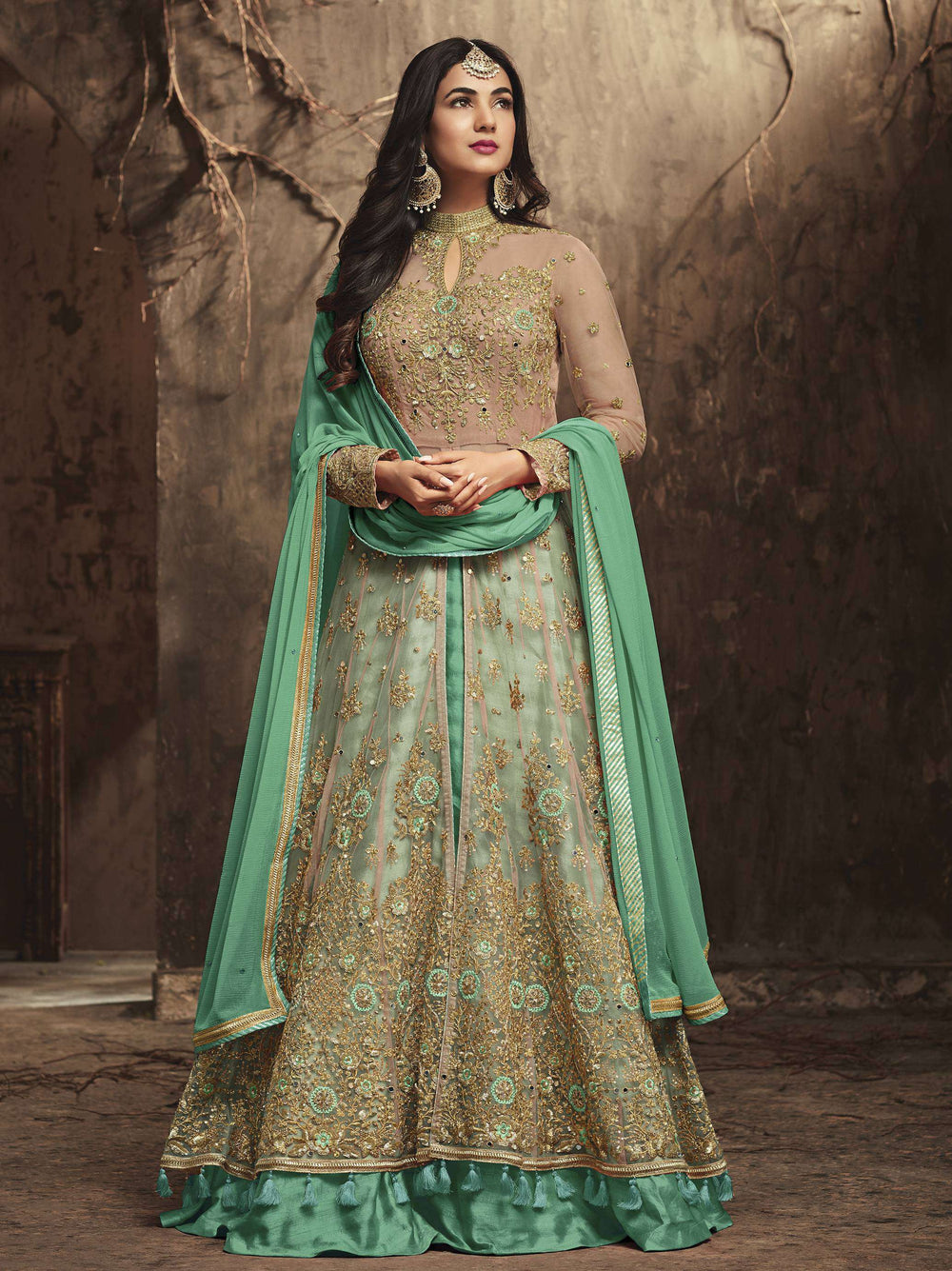 Turquoise-Green Heavy Look And Beautiful Embroidered Party Wear Salwar Kameez MYSK-1303