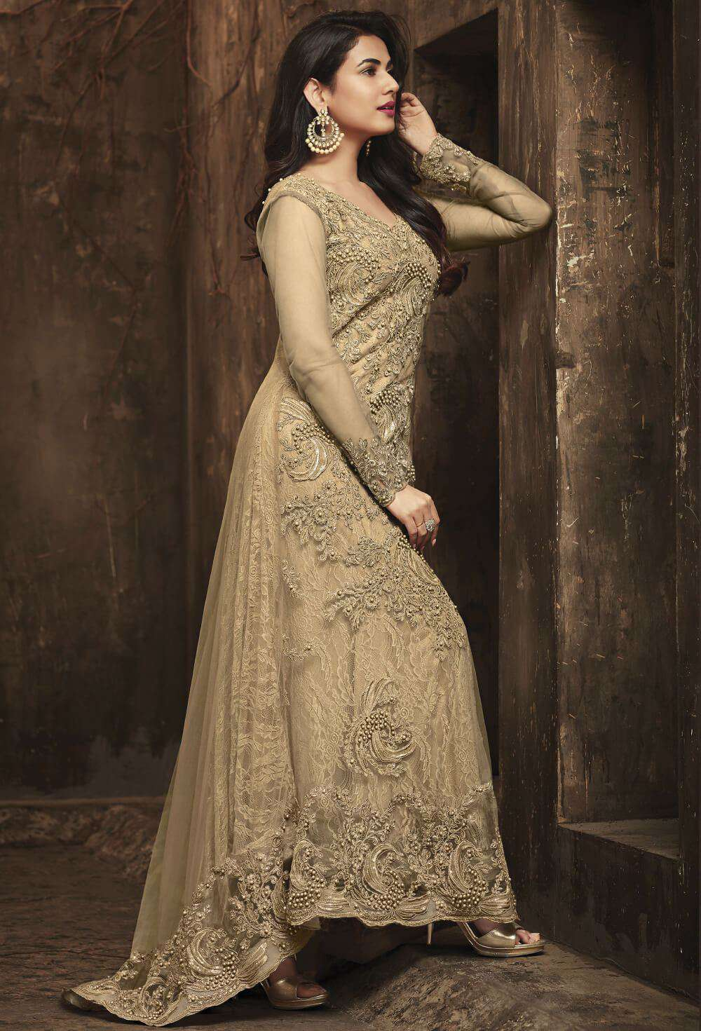 Charming Beige Net Wedding Wear Salwar Kameez MYSK-1346