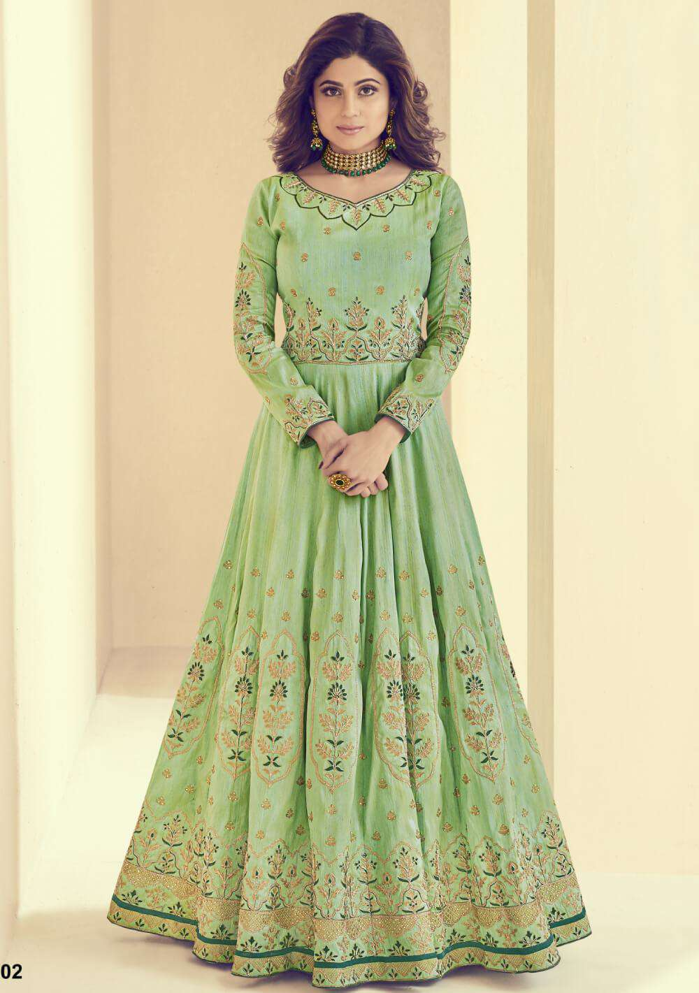Majestic Green Mulberry Silk & Shantoon Salwar Kameez MYSK-1349