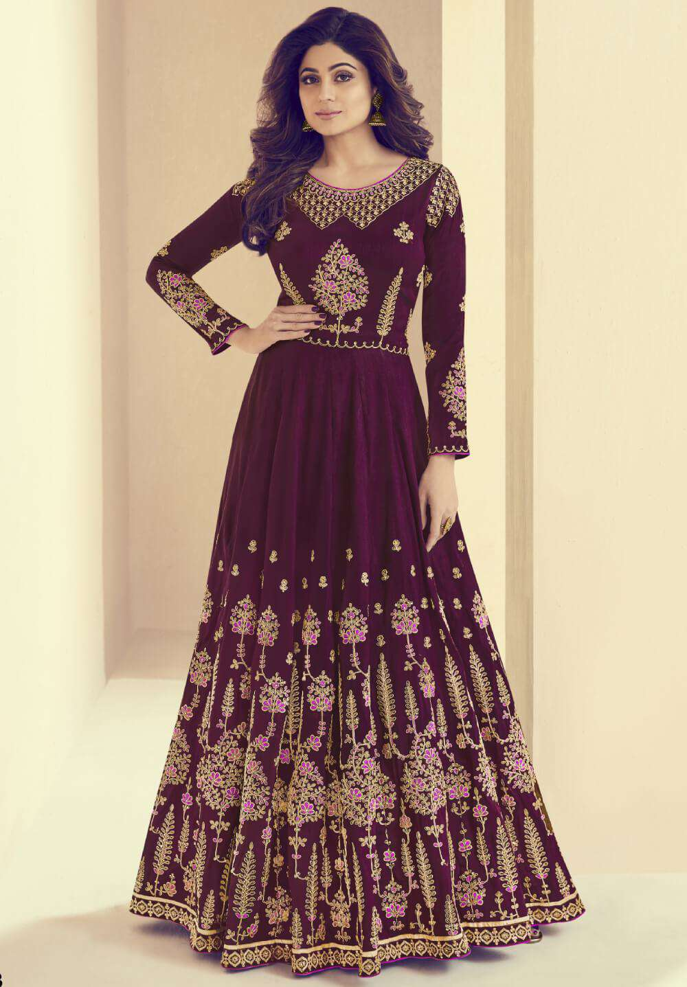 Majestic Purple Mulberry Silk & Shantoon Salwar Kameez MYSK-1350