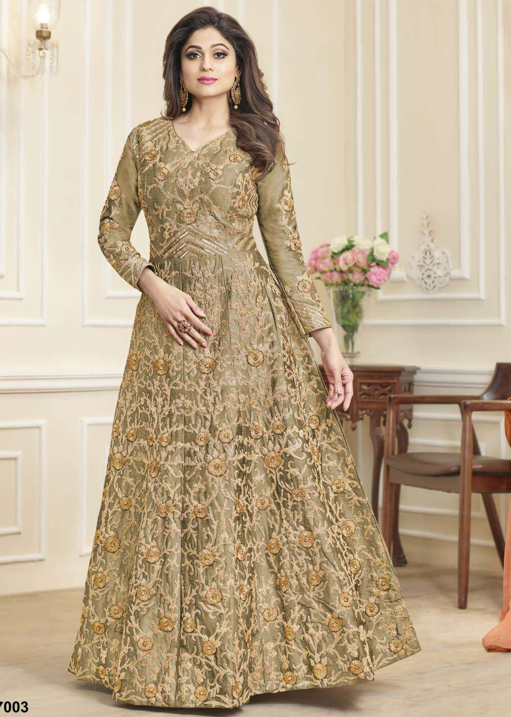 Desirable & Classic Beige Heavy Embroidered Mulberry Silk Salwar Kameez MYSK-1356
