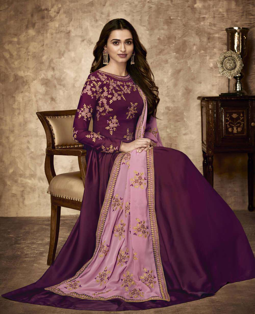New Designer Purple Georgette Embroidered Salwar Kameez MYSK-1364