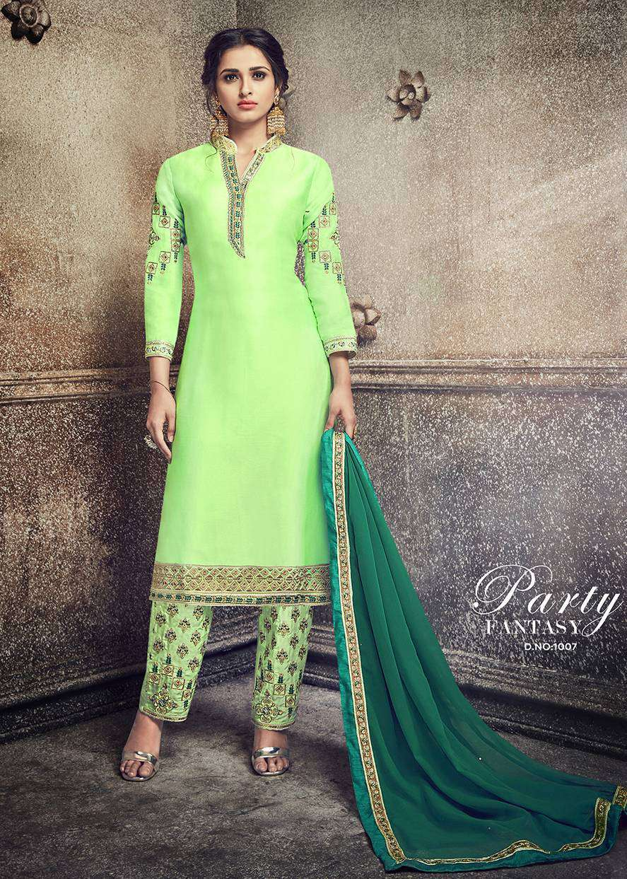 Green Georgette Embroidered Straight-Cut Palazzo Salwar Kameez MYSK-1408
