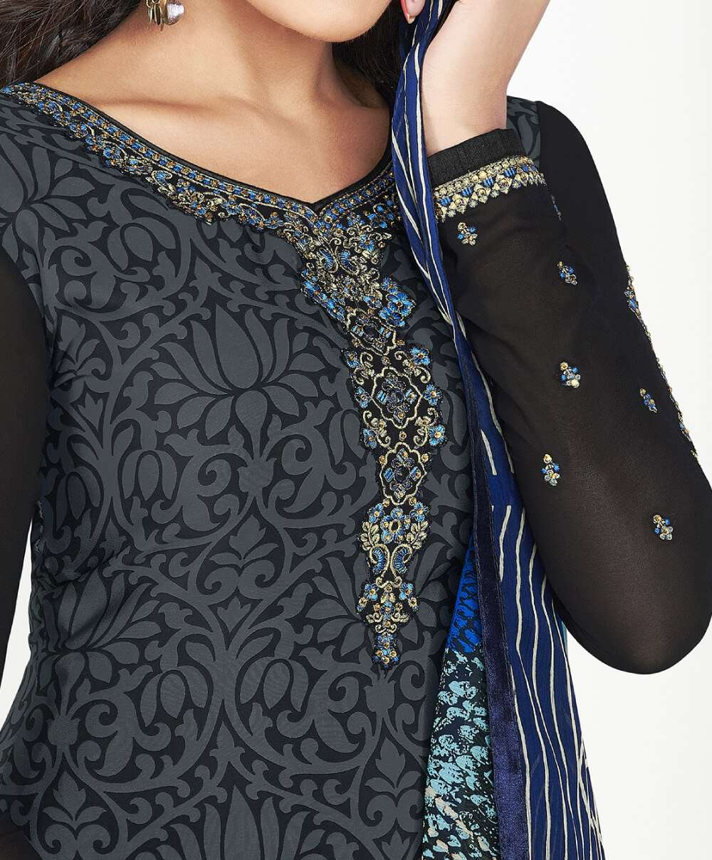 Grey & Black Traditional Look Printed Salwar Kameez MYSK-1413