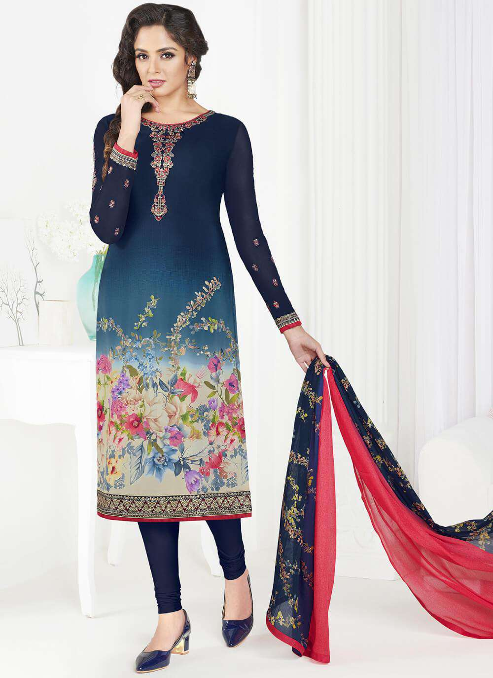 Blue Straight Look Printed French Crepe Salwar Kameez MYSK-1416