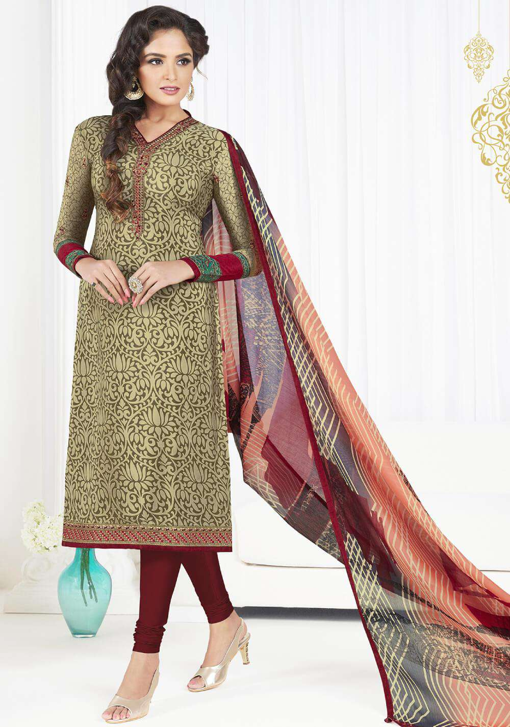 Green & Maroon Straight Look Printed French Crepe Salwar Kameez MYSK-1417