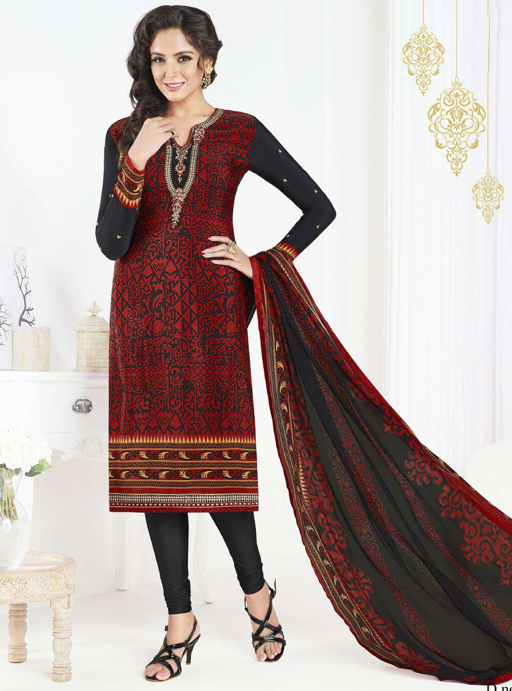 Red & Black Straight Look Printed French Crepe Salwar Kameez MYSK-1418