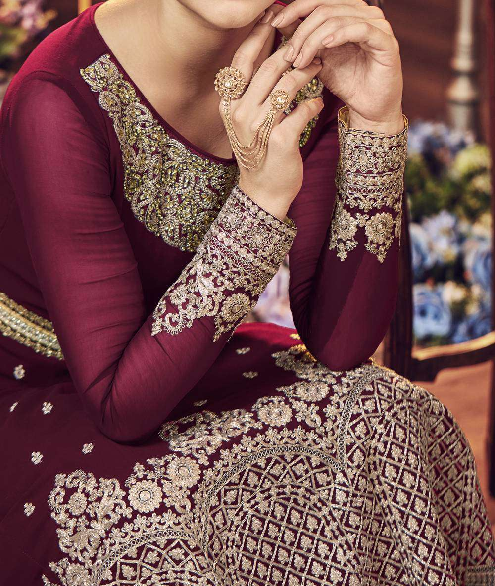 Maroon Ultimate Georgette Jewel Neck Embroidered Salwar Kameez MYSK-1421