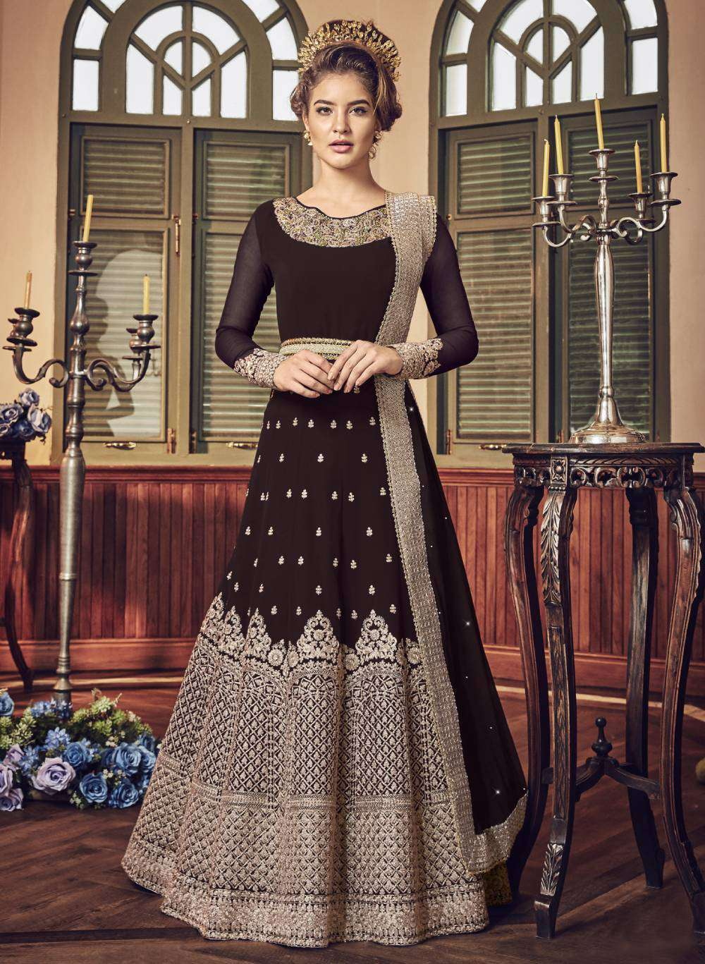 Brown Ultimate Georgette Jewel Neck Embroidered Salwar Kameez MYSK-1423