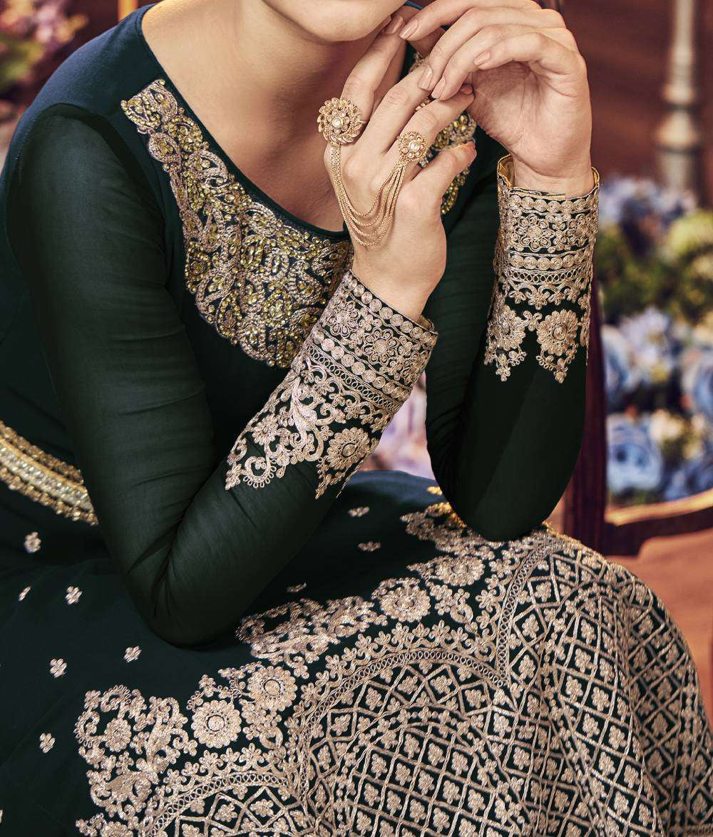 Green Ultimate Georgette Jewel Neck Embroidered Salwar Kameez MYSK-1424