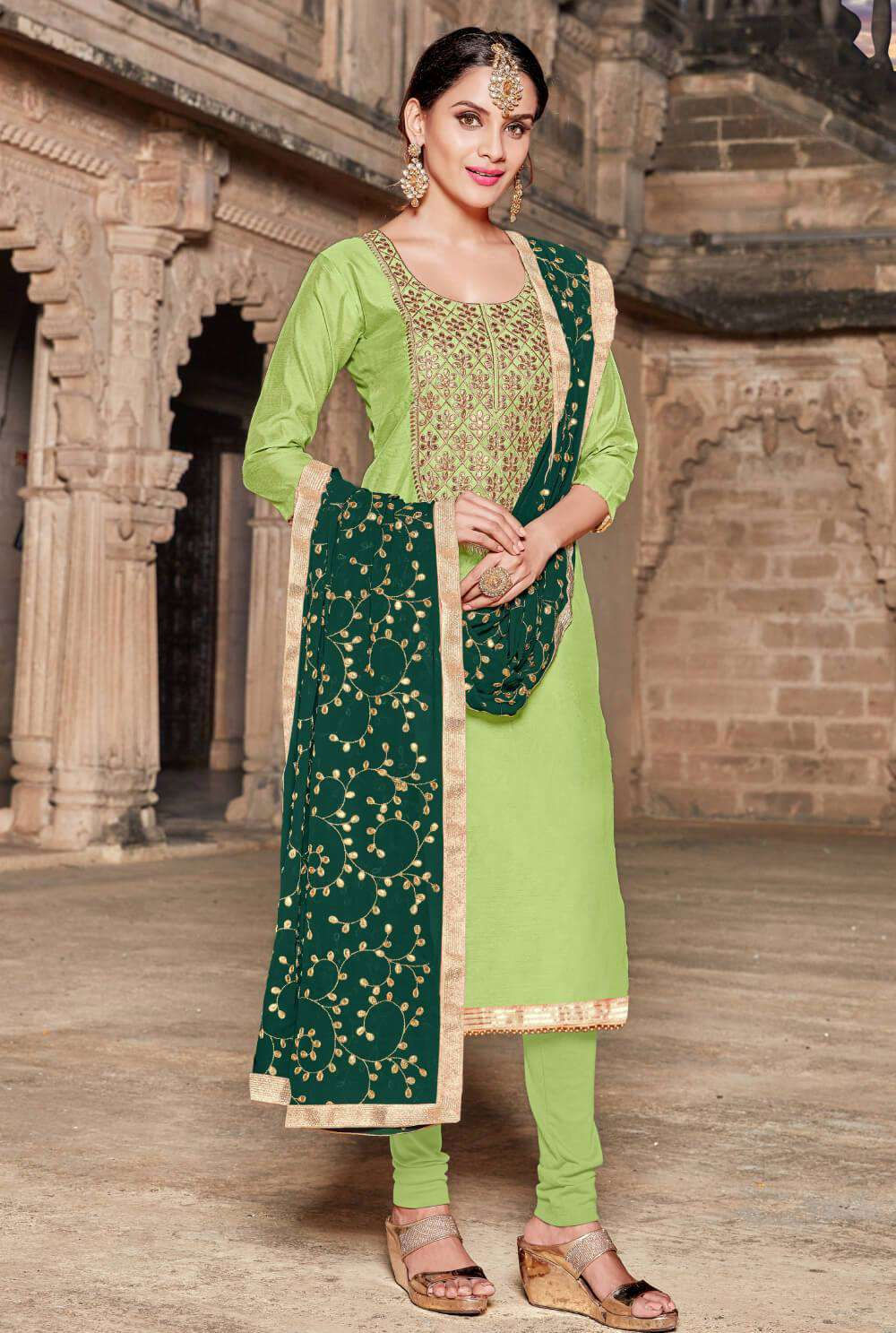 Green Modal Silk With Heavy Work Salwar Kameez MYSK-1488