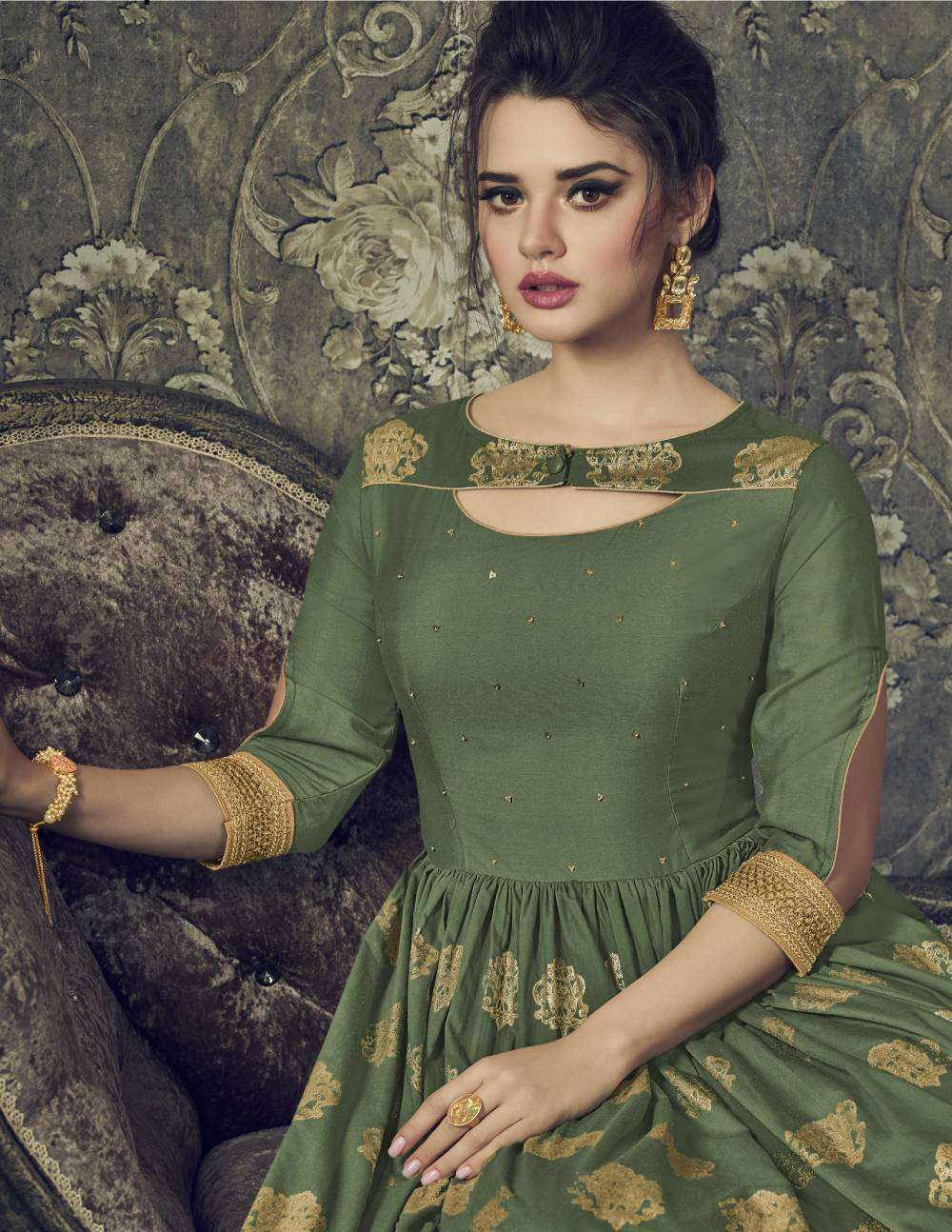 Green Printed Muslin Silk Traditional Wear Anarkali Salwar Kameez MYSK-1491