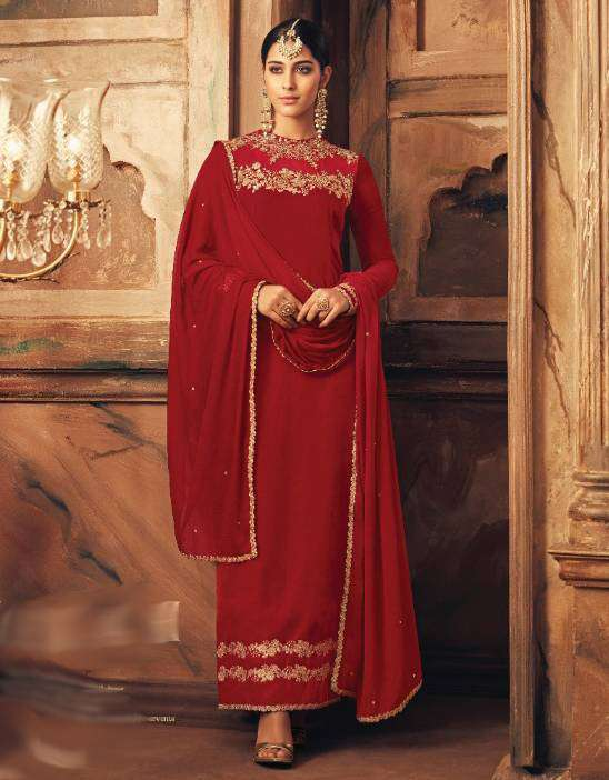 Red Falkn-Velvet Fabric With Floral Embroidered Salwar Kameez MYSK-1510