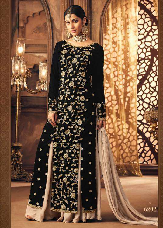 Black Falkn-Velvet Fabric With Floral Embroidered Salwar Kameez MYSK-1511