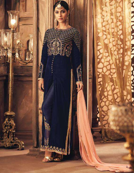 Blue Falkn-Velvet Fabric With Floral Embroidered Salwar Kameez MYSK-1512