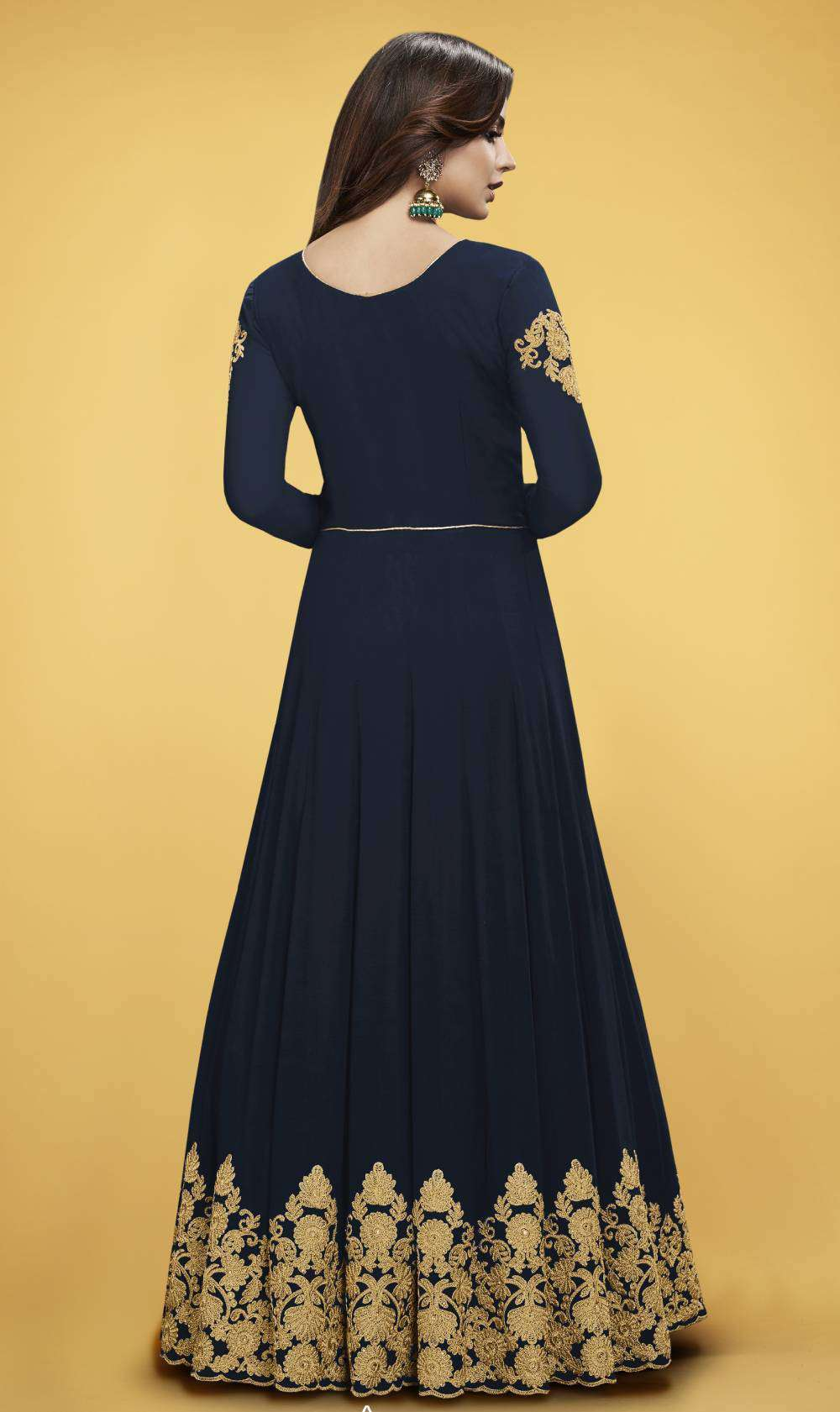 Navy Blue Real Georgette Fancy Gown Salwar Kameez MYSK-1526