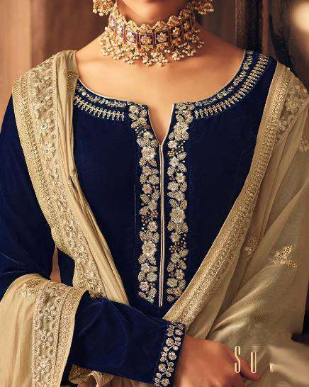 Navy BLue Falkn-Velvet Fabric Embroidered Salwar Kameez MYSK-1529