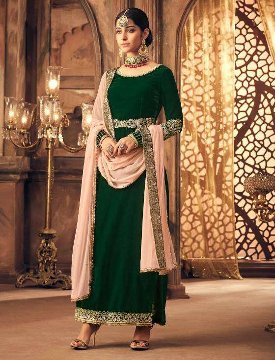 Green Falkn-Velvet Fabric Embroidered Salwar Kameez MYSK-1530