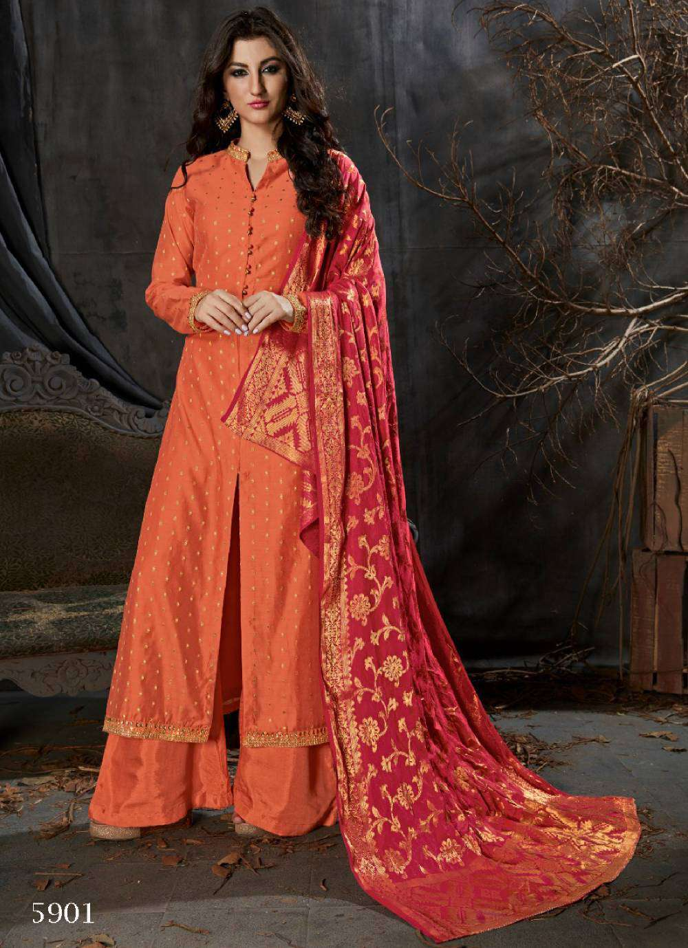 Orange Banarasi Silk Weaving Patterned Straight Cut Salwar Kameez MYSK-1534
