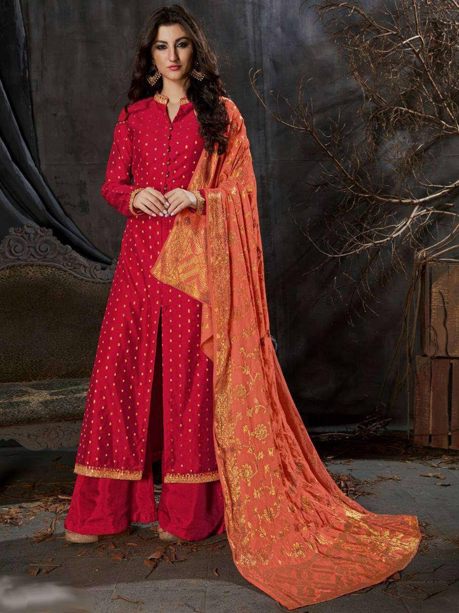 Red Banarasi Silk Weaving Patterned Straight Cut Salwar Kameez MYSK-1537