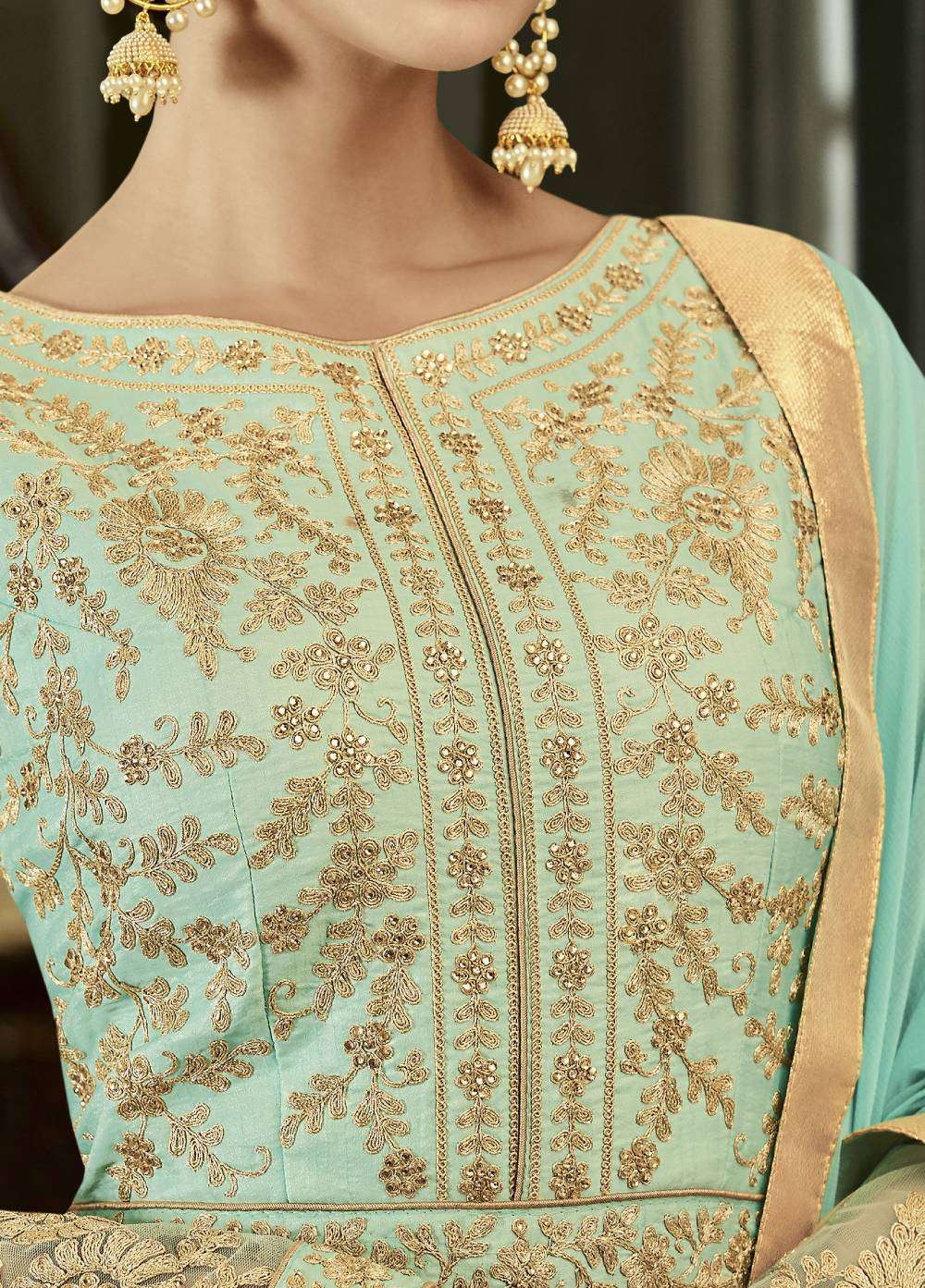 Turquoise Mulberry Silk Taj Party Wear Salwar Kameez MYSK-1550