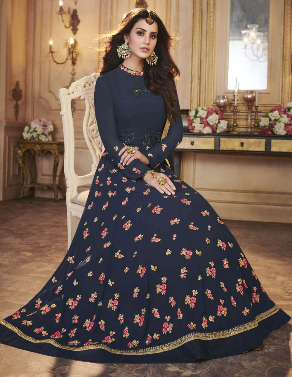 Navy Blue Apple Georgette With Classy Embroidered Salwar Kameez  MYSK-1571